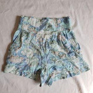 Talula High waisted blue floral shirts viscose xxs